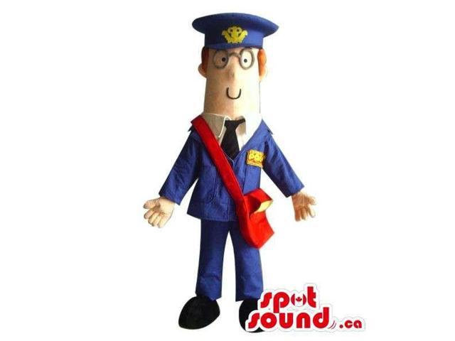 Cartoon Character Canadian SpotSound Mascot Dressed In Postman Clothes And Glasses