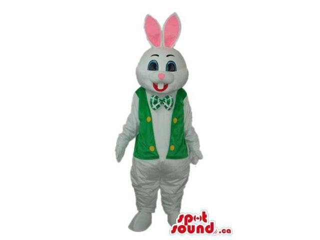 White Rabbit Canadian SpotSound Mascot With Pink Ears Dressed In A Green Vest