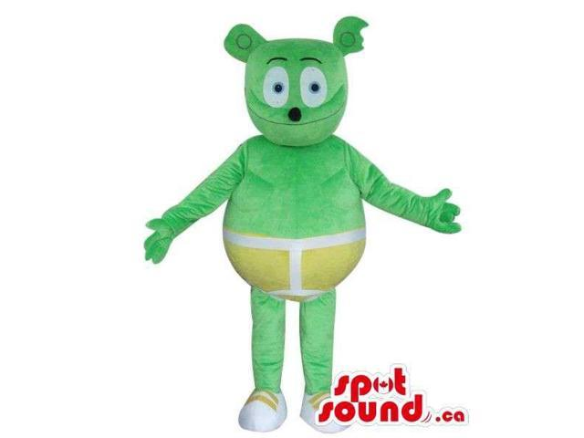 Fairy-Tale Green Bear Plush Canadian SpotSound Mascot Dressed In Yellow Shorts