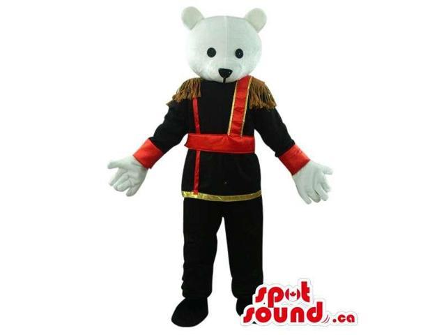White Large Bear Plush Canadian SpotSound Mascot Dressed In Elegant Prince Gear