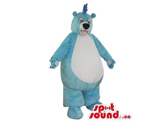 Blue Large Fat Bear Plush Canadian SpotSound Mascot With A Giant White Belly