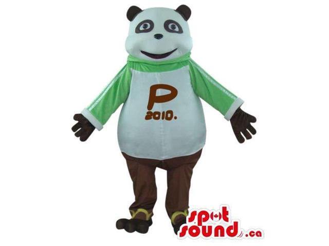 Panda Bear Plush Canadian SpotSound Mascot Dressed In A T-Shirt With A Logo