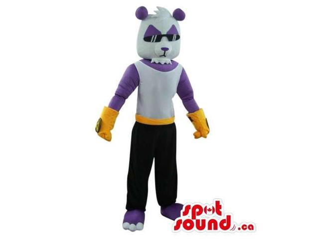 White And Purple Bear Canadian SpotSound Mascot Dressed In Cool Glasses And Gear