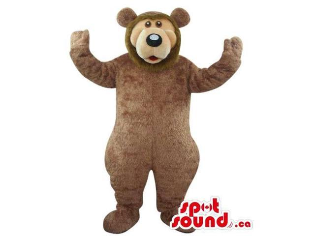 Large Brown Bear Forest Animal Plush Canadian SpotSound Mascot With A Beige Face