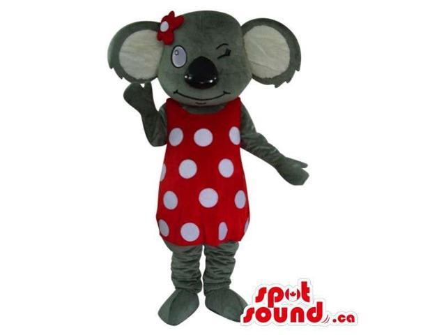 Grey Girl Koala Plush Canadian SpotSound Mascot Dressed In A Red And White Dots Dress