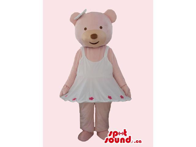 Pink Bear Girl Canadian SpotSound Mascot Dressed In A White Dress And Ribbon