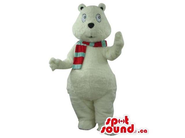 White Bear Plush Canadian SpotSound Mascot Dressed In A Red And Green Scarf