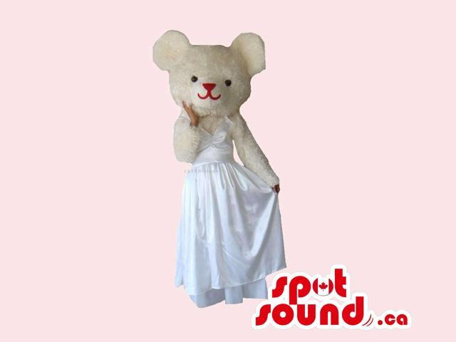 White Bear Girl Canadian SpotSound Mascot Dressed In A Long White Dress