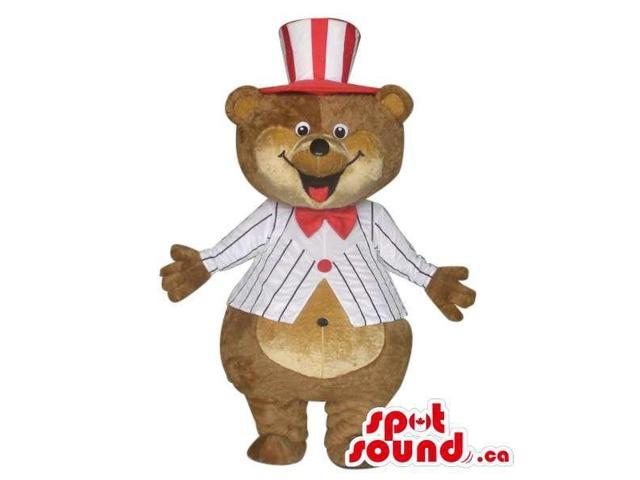 Brown Large Bear Plush Canadian SpotSound Mascot Dressed In Circus Clothes And A Top Hat