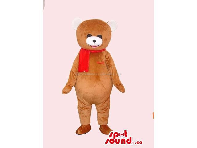 Customised All Brown Teddy Bear Canadian SpotSound Mascot Dressed In A Red Scarf