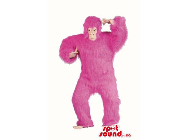 Flashy Pink Woolly Gorilla Plush Canadian SpotSound Mascot Or Disguise