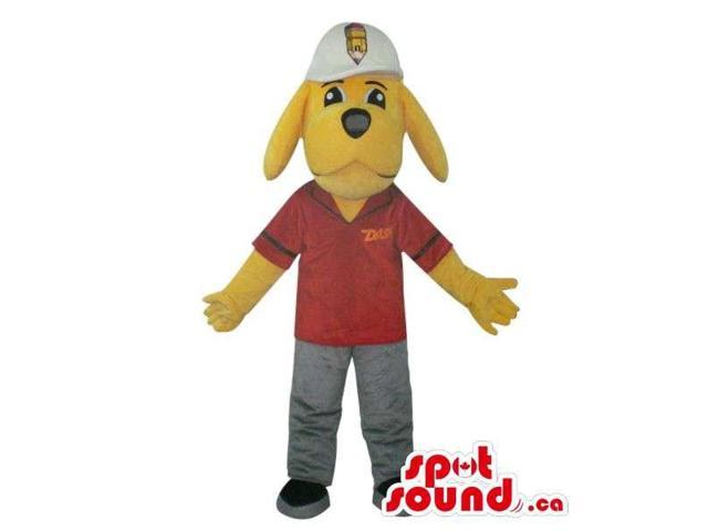 Yellow Dog Plush Canadian SpotSound Mascot Dressed In A Red Shirt With A Logo And A Cap