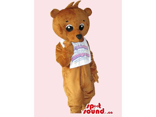 All Brown Teddy Bear Canadian SpotSound Mascot Dressed In A T-Shirt With Text