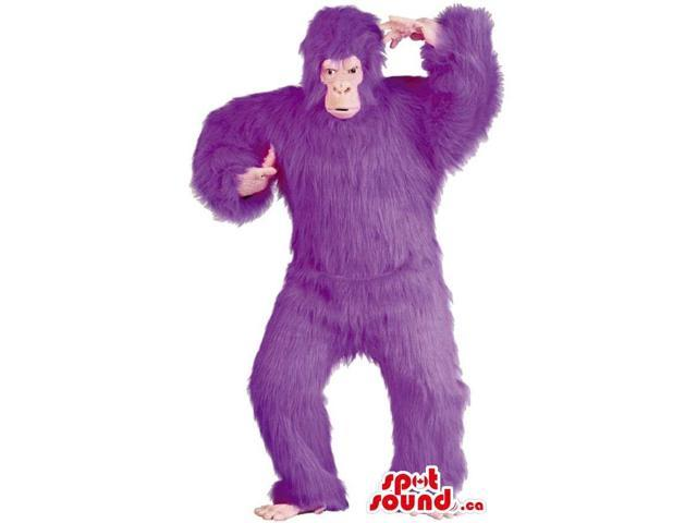 Flashy Purple Woolly Gorilla Plush Canadian SpotSound Mascot Or Disguise