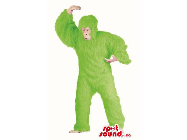 Flashy Green Woolly Gorilla Plush Canadian SpotSound Mascot Or Disguise