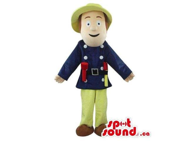 Cartoon Character Canadian SpotSound Mascot Dressed In Standard Fireman Clothes