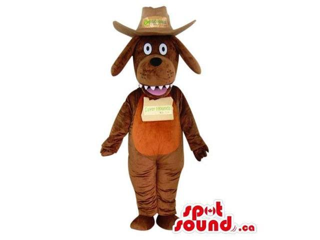 Brown Dog Plush Canadian SpotSound Mascot With A Logo Dressed In A Cowboy Hat