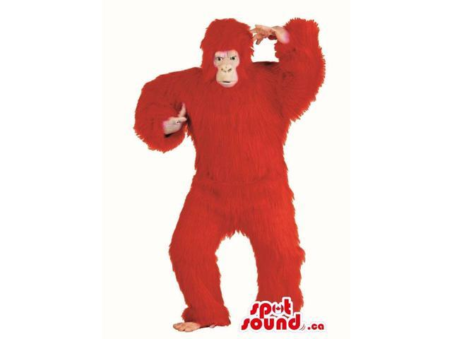 Flashy Red Woolly Gorilla Plush Canadian SpotSound Mascot Or Disguise