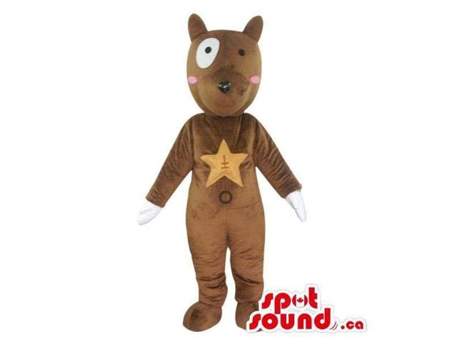 Fairy-Tale Brown Dog Plush Canadian SpotSound Mascot With A Star On Its Chest