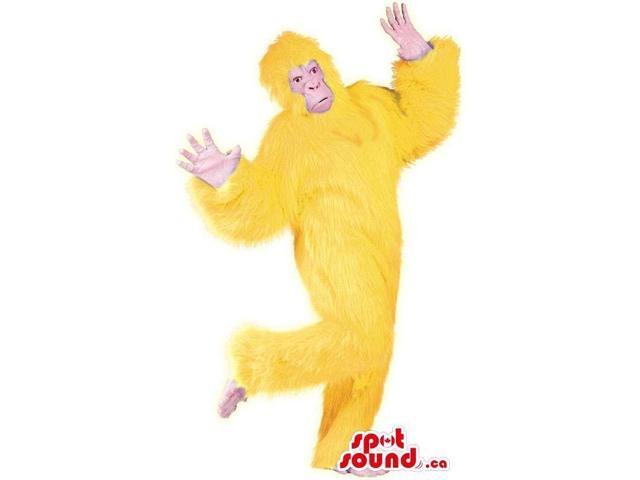 Flashy Yellow Woolly Gorilla Plush Canadian SpotSound Mascot Or Disguise