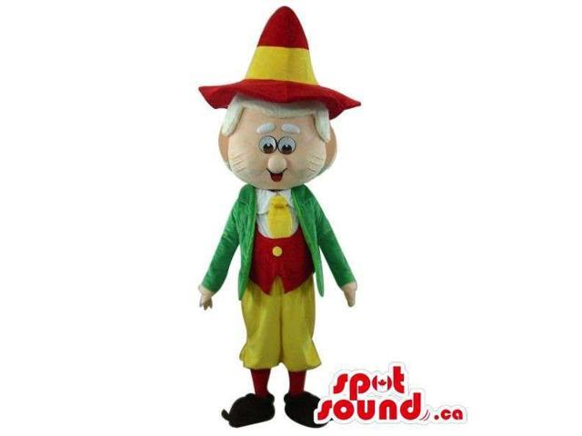 Cartoon Old Man Canadian SpotSound Mascot Dressed In Red And Green Clothes And A Hat