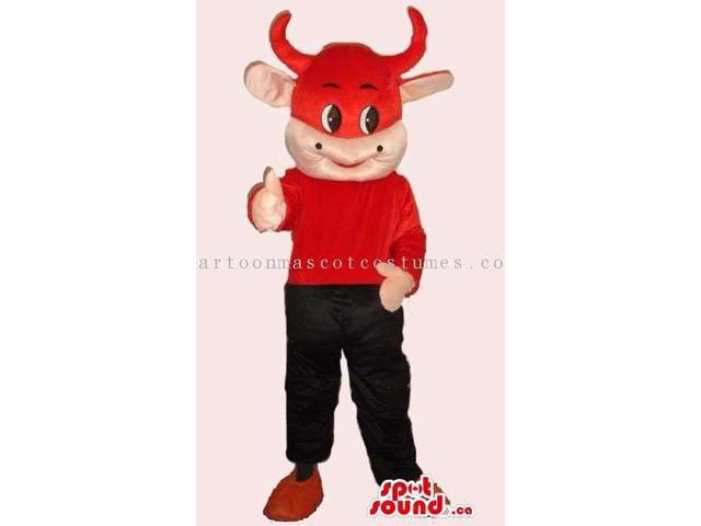 Customised Peculiar Red Cow Canadian SpotSound Mascot Dressed In Gear