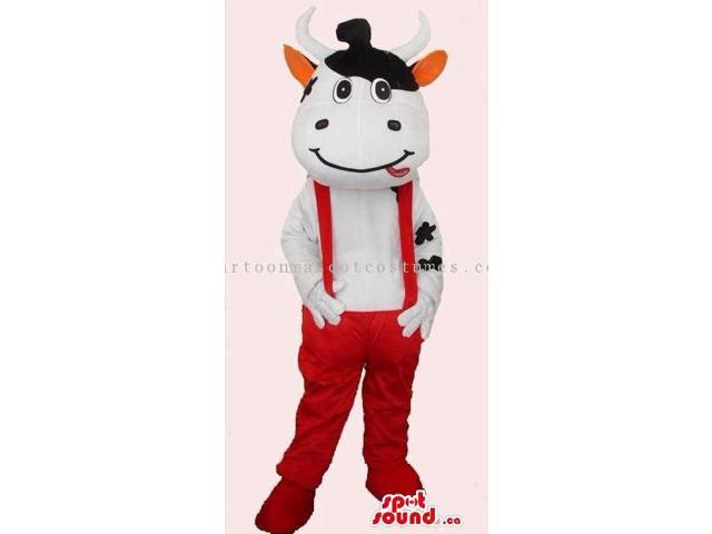 Customised Peculiar Cow Canadian SpotSound Mascot Dressed In Red Overalls