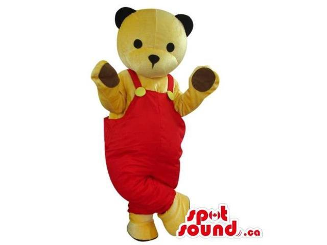 All Beige Teddy Bear Plush Canadian SpotSound Mascot Dressed In Red Overalls
