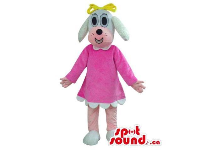 Cute Grey Dog Girl Plush Canadian SpotSound Mascot Dressed In A Pink Dress