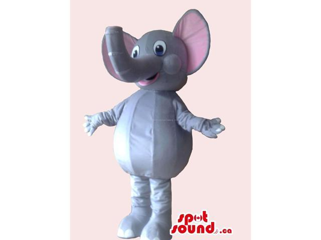 Cute Elephant Canadian SpotSound Mascot With Trunk Facing Upwards And Pink Ears