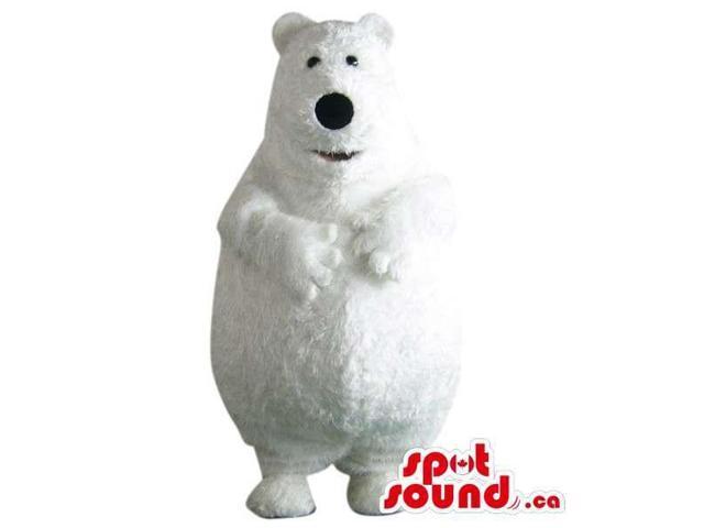 Customised Large All White Polar Bear Plush Canadian SpotSound Mascot