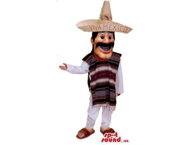Mexican Mariachi Human Canadian SpotSound Mascot With Hat, Poncho And Moustache