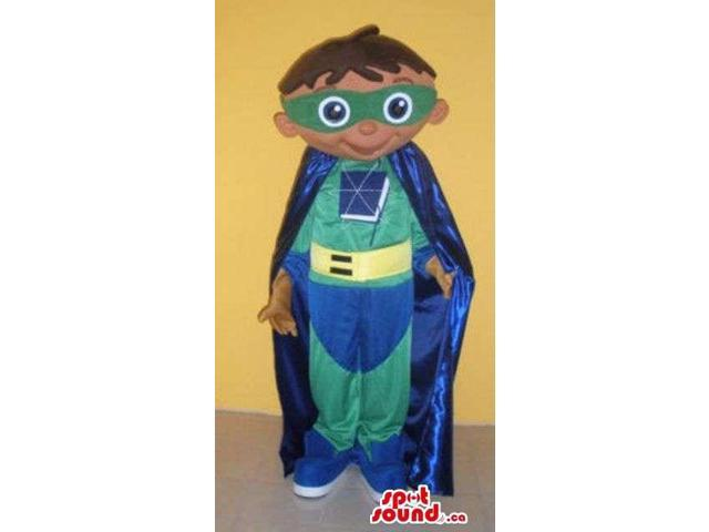 Green And Blue Super Hero Human Boy Canadian SpotSound Mascot With Cape