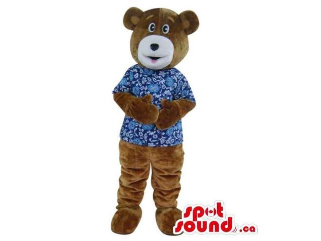 Customised Brown Bear Plush Canadian SpotSound Mascot Dressed In A Blue Shirt