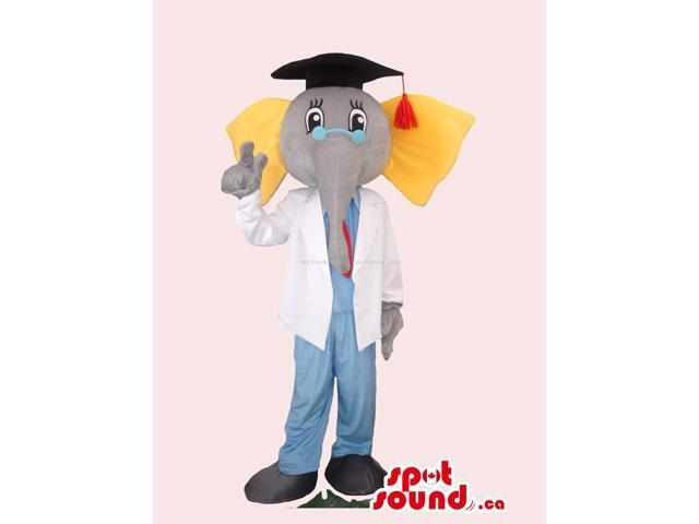Elephant Canadian SpotSound Mascot Dressed In A Graduation Cap And Doctor Gear