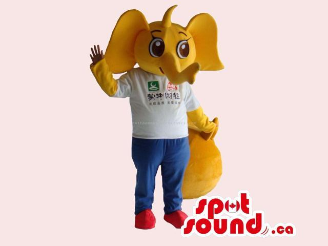 Cute Yellow Elephant Canadian SpotSound Mascot Dressed In A White T-Shirt With Text