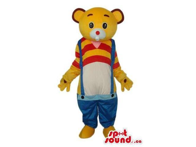 Yellow Bear Plush Canadian SpotSound Mascot Dressed In Low Rise Overalls