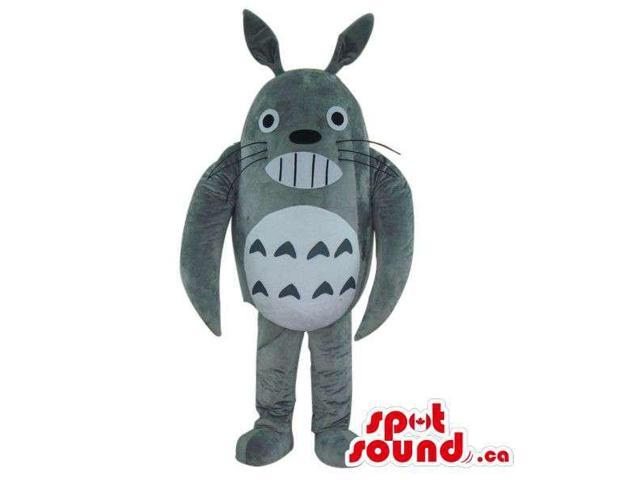 Cute Grey Well-Known Character Plush Canadian SpotSound Mascot Showing Its Teeth