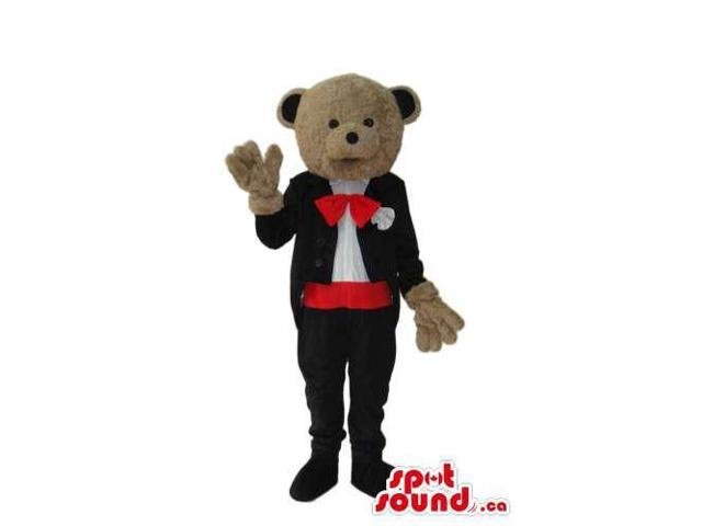 Brown Teddy Bear Groom Canadian SpotSound Mascot Dressed In Elegant Clothes