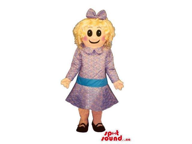 Blond Girl Canadian SpotSound Mascot Dressed In Purple Dress, Bow And Black Shoes