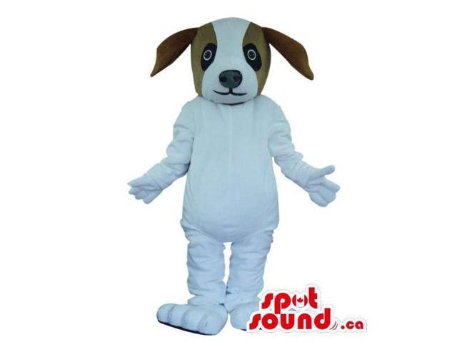 Cute White Dog Pet Plush Canadian SpotSound Mascot With A Brown Head