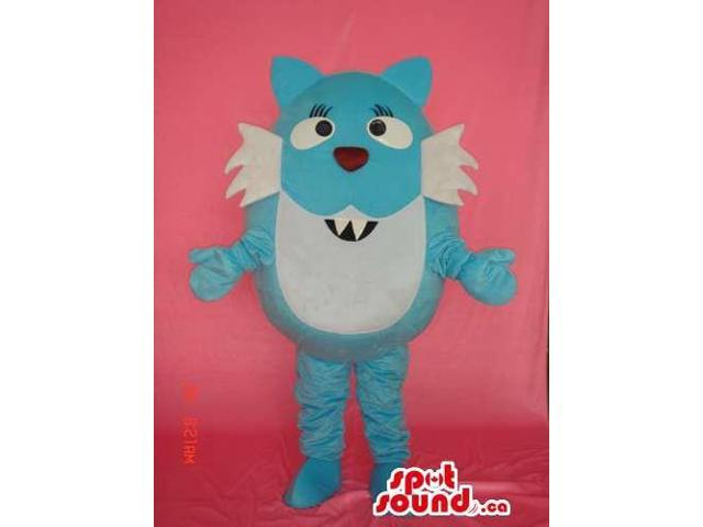 Blue And White Fairy-Tale Cat Plush Canadian SpotSound Mascot With Sharp Teeth
