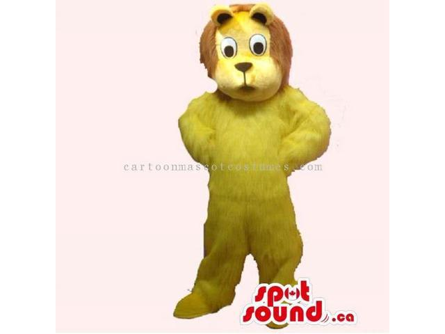 Customised All Yellow Cute Lion Plush Canadian SpotSound Mascot