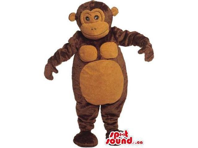 Dark Brown Plush Monkey Canadian SpotSound Mascot With Round Brown Ears And Belly