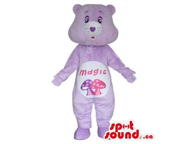 Purple Care Bear Cartoon Canadian SpotSound Mascot With Mushrooms On Its Belly