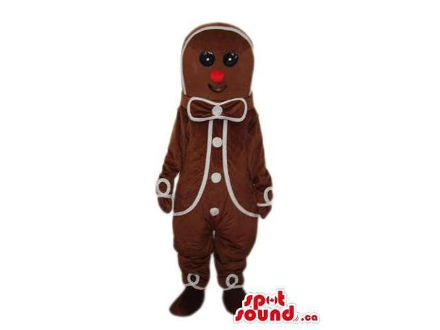 Ginger Bread Man Cake Plush Canadian SpotSound Mascot With White Decoration
