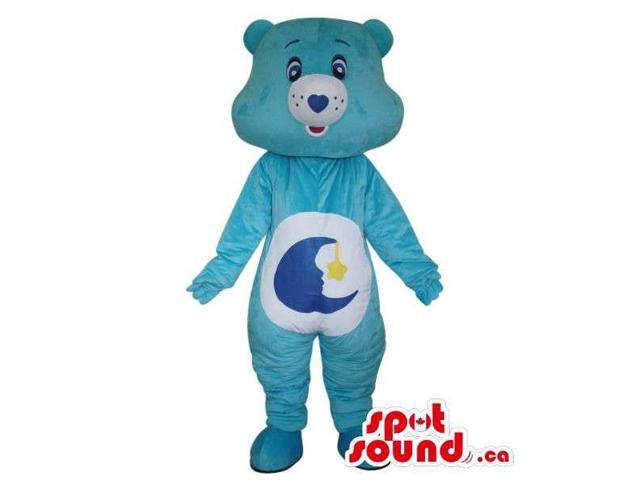 Blue Care Bear Cartoon Canadian SpotSound Mascot With A Moon On Its Belly
