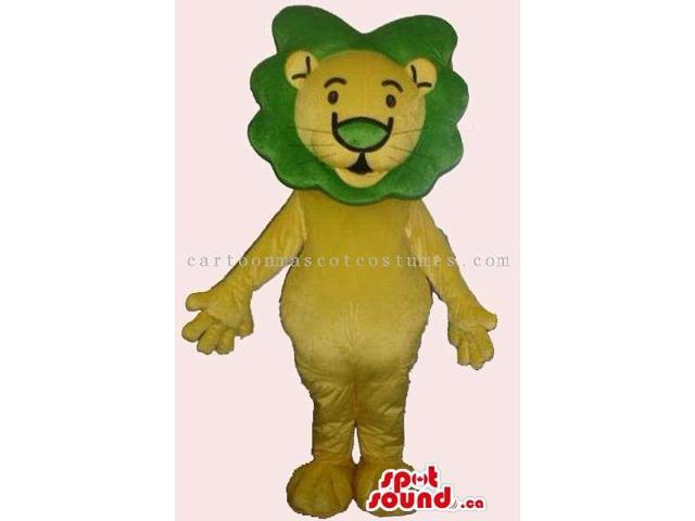 Customised Yellow Cute Lion Plush Canadian SpotSound Mascot With Green Hair
