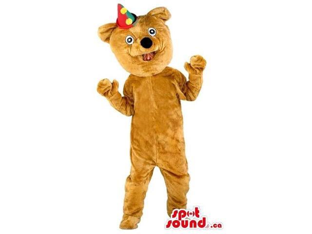Customised All Brown Bear Forest Canadian SpotSound Mascot With A Party Hat