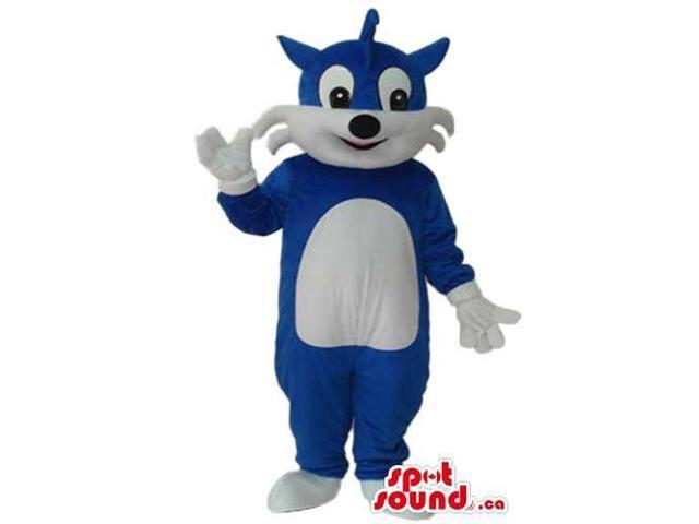 Blue And White Fairy-Tale Cat Plush Canadian SpotSound Mascot With Cartoon Eyes